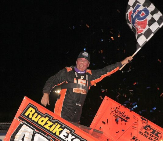 Tim Shaffer in victory lane Friday night at Williams Grove Speedway. (Dan Demarco photo)