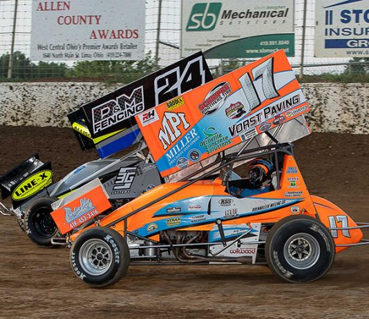 Jared Horstman (17) races past Kobe Allison on Friday at Limaland Motorsports Park. (Mike Campbell Photo)
