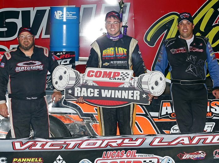 Logan Martin (center) raced to his first-career COMP Cams Super Dirt Series win on Friday night at Batesville Motor Speedway. He's joined by runner-up Jesse Stovall (right) and third-place finisher Terry Phillips (left). (Woody Hampton Photo)