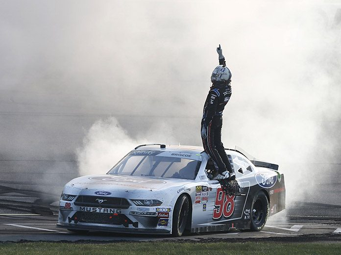 Chase Briscoe celebrates after winning the U.S. Cellular 250 Saturday at Iowa Speedway. (HHP/Ashley Dickerson Photo)