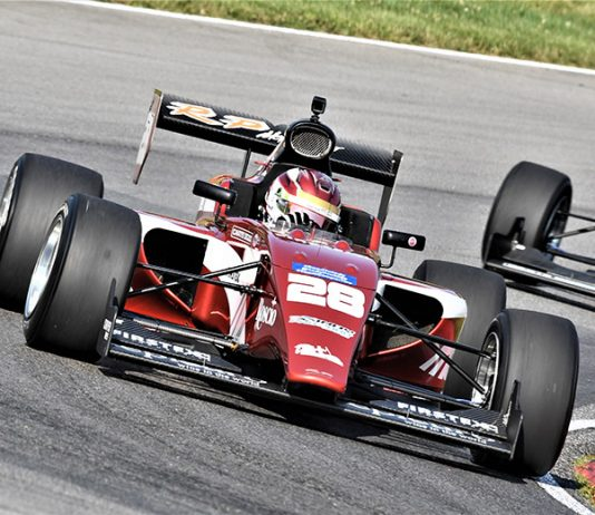 Kyle Kirkwood on his way to victory in Indy Pro 2000 competition Saturday at the Mid-Ohio Sports Car Course. (Al Steinberg Photo)