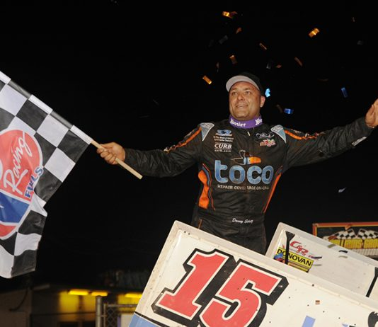 Donny Schatz celebrates after winning the Summer Nationals feature Saturday at Williams Grove Speedway. (Julia Johnson Photo)