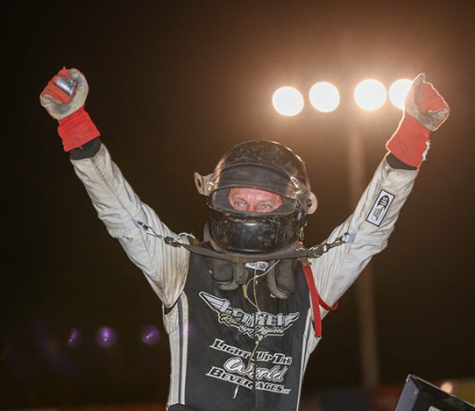 Terry Babb celebrates his Built Ford Tough MOWA Sprint Car Series victory Saturday at Macon Speedway. (Brendon Bauman Photo)