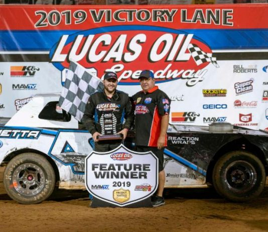 Kyle Slader led all the way to earn the O'Reilly Auto Parts Street Stocks feature victory Saturday night at Lucas Oil Speedway. (Kenny Shaw Photo)