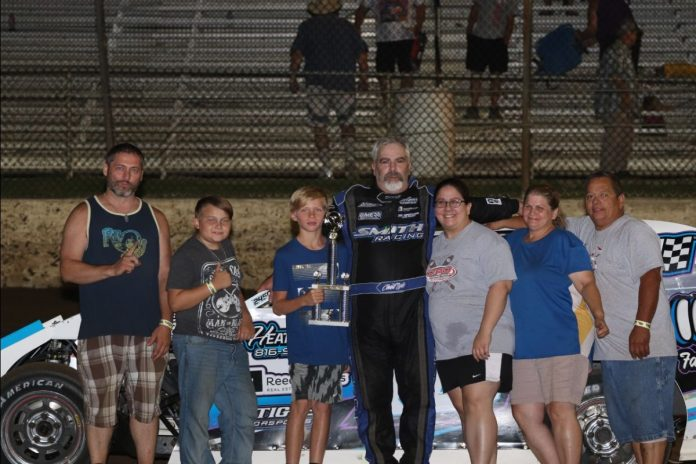 Chad Lyle captured the modified victory Saturday at Central Missouri Speedway. (Joshua Allee Photo)