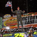 Shane Clanton in victory lane at Shawano Speedway. (Jim DenHamer photo)