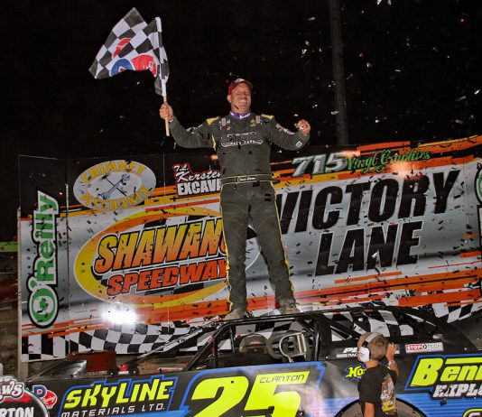 Shane Clanton in victory lane at Shawano Speedway. (Jim DenHamer photo)