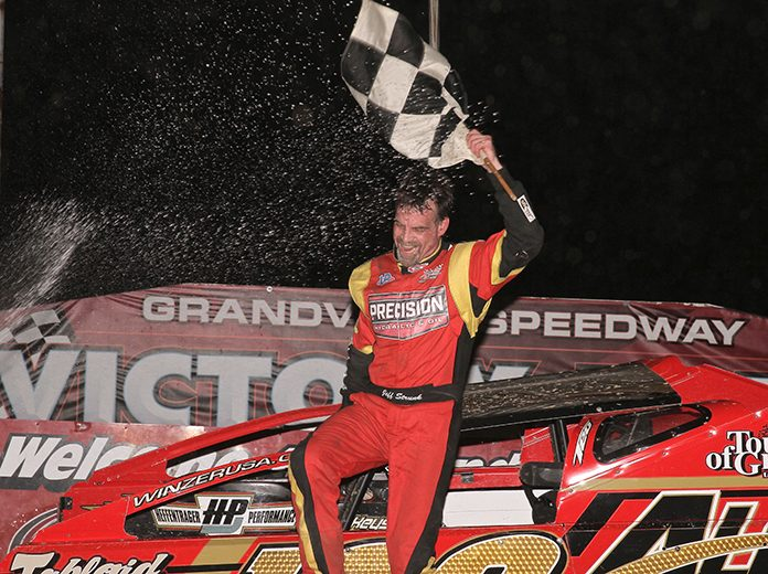 Jeff Strunk celebrates his victory in NASCAR 358 Modified action Tuesday at Grandview Speedway. (Dan Demarco Photo)
