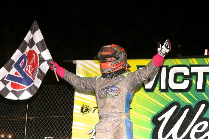 Zeb Wise in victory lane at Action Track USA. (Dan Demarco photo)