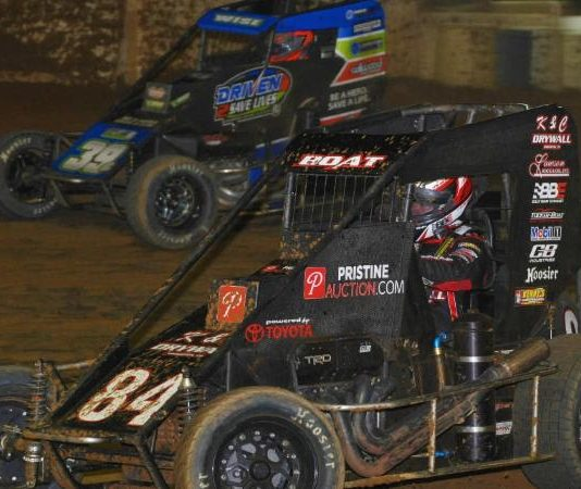 Chad Boat (84) races under Zeb Wise at Path Valley Speedway Park. (Chad Warner photo)