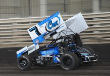 Craig Dollansky hard at work at Knoxville Raceway this year. (Ken Berry Photo)