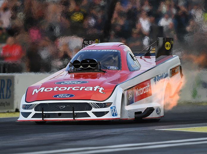 Bob Tasca III sped to the No. 1 spot in NHRA qualifying Friday at Pacific Raceways. (NHRA Photo)