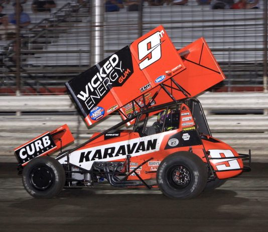 James McFadden won Friday night's 360 Nationals feature at Knoxville Raceway. (Richard Bales photo)