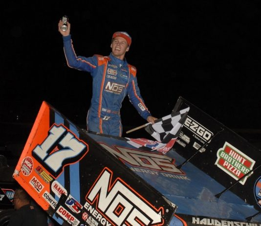 Sheldon Haudenschild won the Ironman 55 at Federated Auto Parts Raceway at I-55. (Mark Funderburk photo)