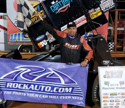 Terry Gray in victory lane at Dixie Speedway. (USCS photo)