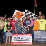 Tyler Blank in victory lane at Double-X Speedway. (Carol Wirts photo)