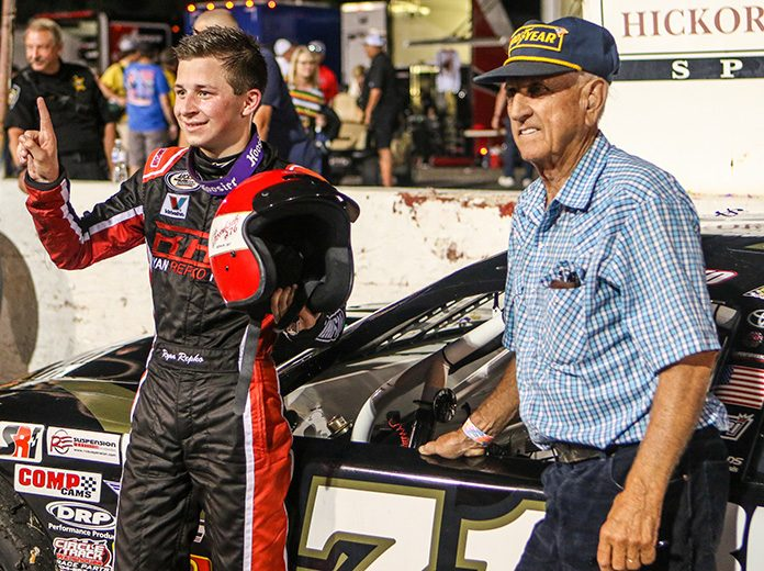 Ryan Repko (left) shares victory lane with Dave Marcis after winning Saturday's late model stock portion of the Throwback 276. (Adam Fenwick Photo)