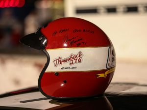 Dave Marcis signed the trophy helmet won by Ryan Repko after Saturday's late model stock race during the Throwback 276. (Adam Fenwick Photo)