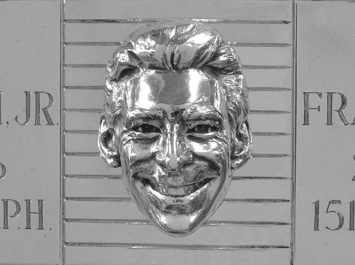 Simon Pagenaud's face as it appears on the Borg-Warner trophy. (IMS Photo)