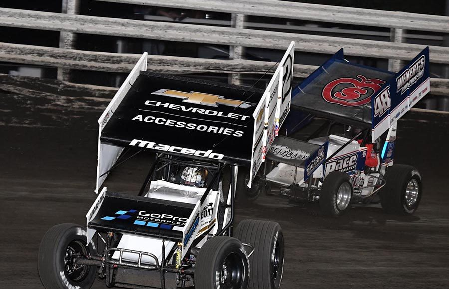 Carson Macedo (2) races ahead of Danny Dietrich during Monday's Front Row Challenge at Southern Iowa Speedway. (Frank Smith Photo)