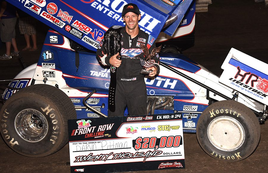 Daryn Pittman poses in victory lane after winning Monday's Front Row Challenge at Southern Iowa Speedway. (Paul Arch Photo)