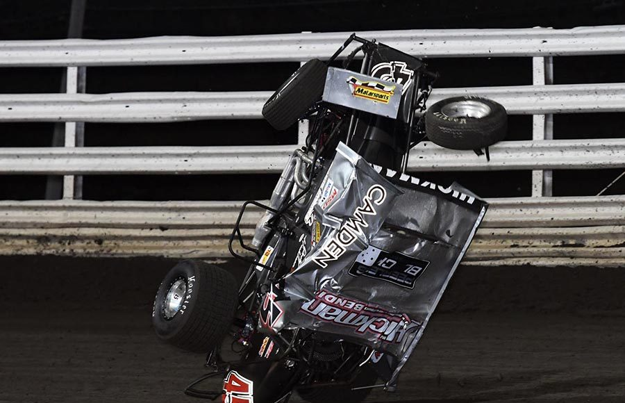 Rusty Hickman went for a wild ride during Monday's Front Row Challenge at Southern Iowa Speedway. (Frank Smith Photo)