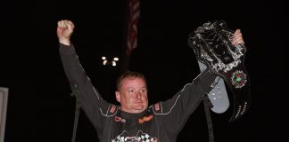Wayne Johnson in victory lane at Southern Iowa Speedway. (Frank Smith photo)