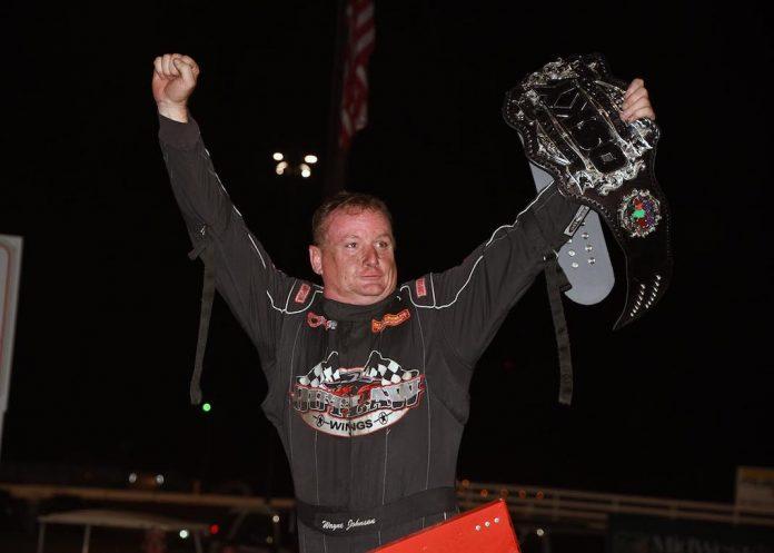 Wayne Johnson in victory lane at Southern Iowa Speedway. (Frank Smith photo)