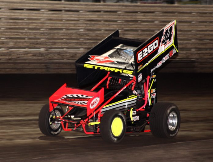 Trey Starks en route to victory Wednesday night at Knoxville Raceway. (Richard Bales photo)