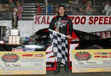 Tyler Roahrig in victory lane Wednesday after winning the Kalamazoo Klash at Kalamazoo Speedway. (Jim Denhamer Photo)
