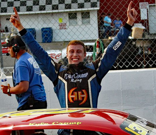 Kyle Crump celebrates after his first ARCA/CRA Super Series victory Wednesday at Kalamazoo Speedway. (Jim Denhamer Photo)
