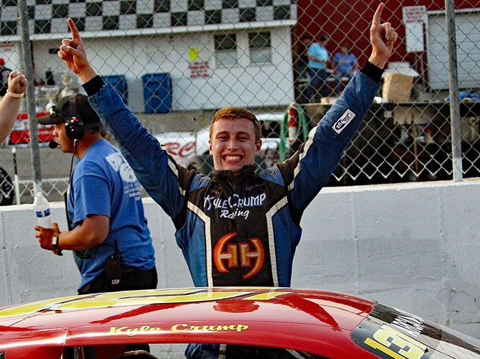 Kyle Crump celebrates after his first ARCA/CRA Super Series victory Wednesday at Kalamazoo Speedway. (Jim Denhamer Photo)