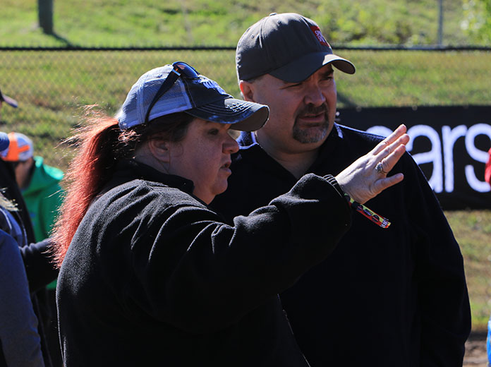 Mike Kerchner (right) with his wife, Haven, at The Dirt Track at Charlotte. (Adam Fenwick Photo)