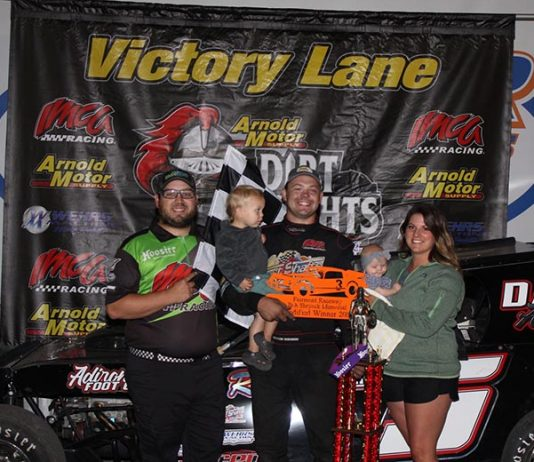 Brandon Beckendorf won the first Arnold Motor Supply Dirt Knights Tour feature held in Minnesota, leading all 25 laps of the Wednesday night IMCA Modified main event at Fairmont Raceway. (Bill Keech Photo)