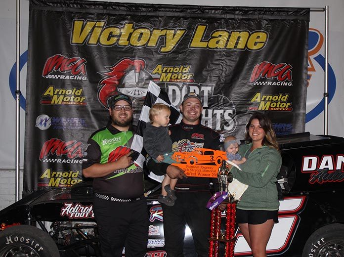 Brandon Beckendorf won the first Arnold Motor Supply Dirt Knights Tour feature held in Minne­sota, leading all 25 laps of the Wednesday night IMCA Modified main event at Fairmont Raceway. (Bill Keech Photo)