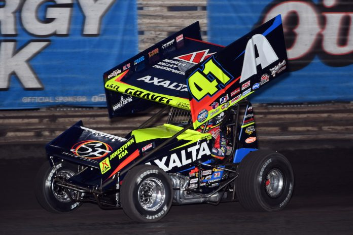 David Gravel won Thursday night's preliminary feature during the NOS Energy Drink Knoxville Nationals. (Mike Campbell photo)