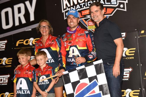 David Gravel in victory lane with team owner Bobbi Johnson and NASCAR Hall of Famer Jeff Gordon. (Paul Arch photo)