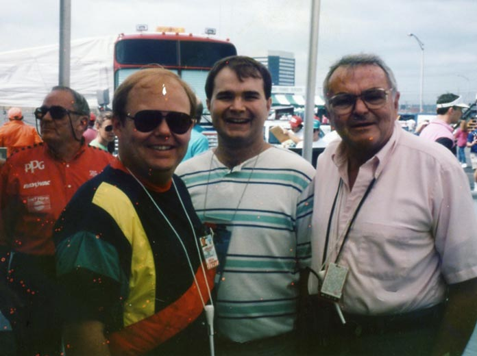 (From left) Keith Waltz with current SPEED SPORT Editor Mike Kerchner and the late Chris Economaki.