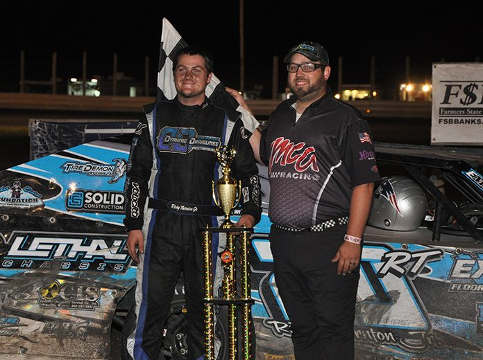 Ricky Thornton Jr. took home another tall trophy from Hancock County Speedway, after winning the Aug. 8 Night of 1,000 Stars IMCA Modified feature. (Emily Campbell Photo)