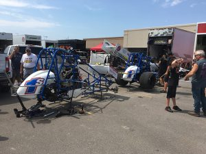 Shark Racing tore apart two cars on Thursday as the team prepared for the Hard Knox program with Logan Schuchart. (Mike Kerchner Photo)