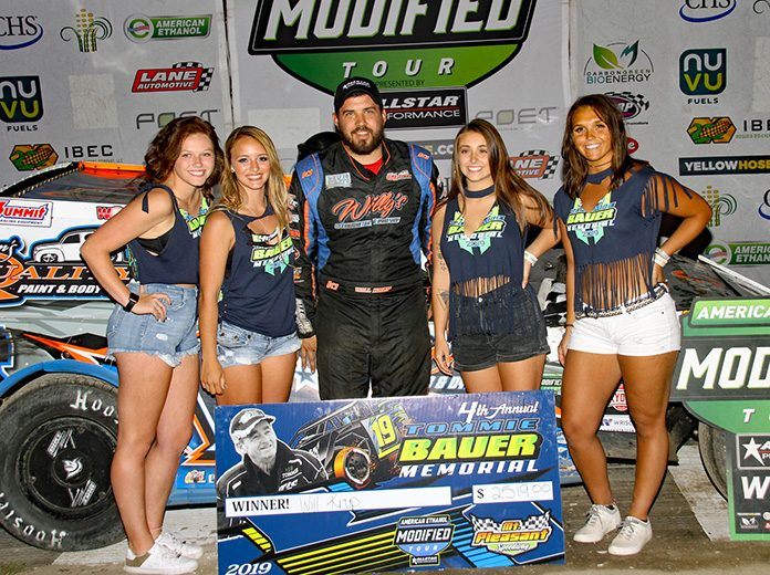 Will Krup poses in victory lane Friday at Mount Pleasant Speedway. (Jim Denhamer Photo)