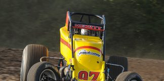 Tyler Hewitt raced to the first sprint car victory of his career Friday at Gas City I-69 Speedway.