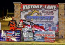 Steven Shebester in victory lane Friday at RPM Speedway. (Mike Petty Photo)