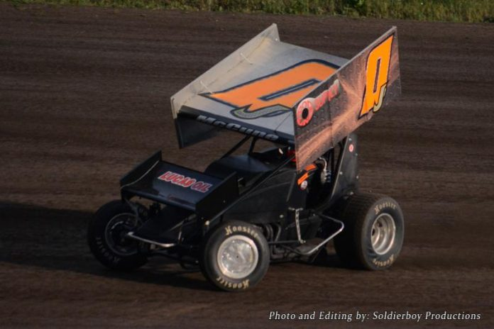 Jeremy McCune en route to victory Friday at Sweetwater Speedway.