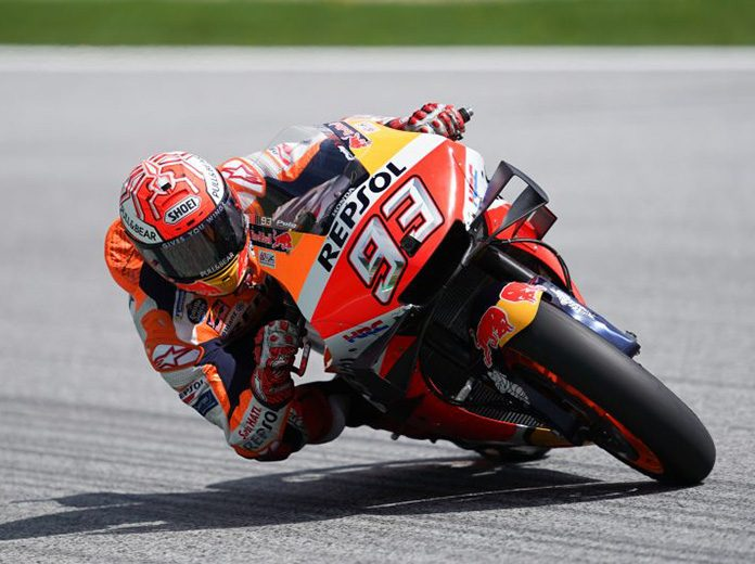 Marc Marquez on his way to the pole Saturday at the Red Bull Ring. (Honda Photo)