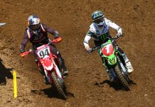 Ken Roczen (94) races alongside Eli Tomac Saturday during the Unadilla National. (Jeff Kardas Photo)