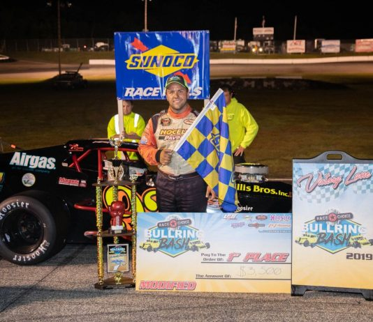 Anthony Nocella in victory lane Saturday at White Mountain Motorsports Park.