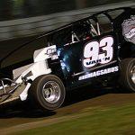 Danny Varin on his way to victory Saturday at Fonda Speedway. (Dave Dalesandro Photo)