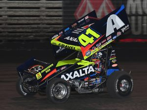 David Gravel on his way to victory Saturday night at Knoxville Raceway. (Mike Campbell Photo)