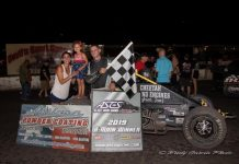 Justin Zimmerman in victory lane Saturday at Devil's Bowl Speedway. (Rudy Garcia Photo)